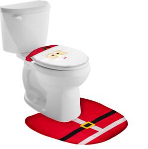 Merry Christmas Santa Claus Xmas Bathroom Toilet Seat Lid Cover Bathroom Set