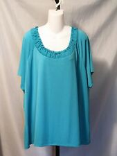 COVINGTON WOMAN Smocked Knit Tops Women's Size 24 - 26 W Pink Turquoise $28  NWT