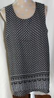 NORTHSTYLE Black Geometric Print Tunic Top Blouse Sleeveless Lined SIZE XL