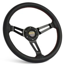 350MM Genuine Leather Black Dished Sport Steering Wheel with MOMO Horn Button