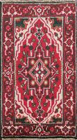 Traditional Geometric Heriz Oriental Area Rug Hand-knotted Wool RED Carpet 2'x3'