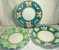 """Ceramica Arte Bello Mexico Hand Painted 3 Large Colorful Dinner Plates 12"""" w2s1"""