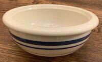 "USA Roseville Ohio Blue Stripe 6.5"" Soup Cereal Baker Bowl Friendship Pottery"