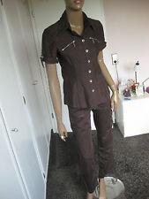 Apanage exclusiver Hosenanzug/ Kombination 34/36  braun  Bluse +7/8Hose
