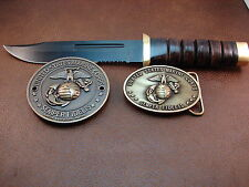 US Marine Corps Recon Knife-Grill Medallion-Belt Buckle