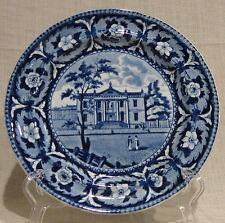 "19th Century Ridgway Staffordshire Flow Blue 8"" Plate Library Philadelphia"