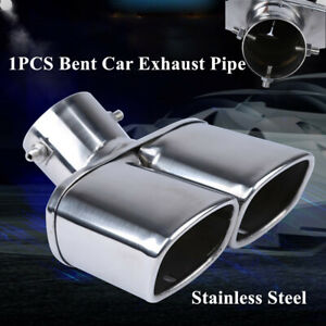 """1PCS Bent Car Steel 63mm/2.5"""" Chrome Dual Exhaust Tip Square Tail Pipe Muffler"""