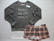 NWT HOLLISTER by Abercrombie 2pc Pajama Set Sweatshirt Flannel Shorts Gray L
