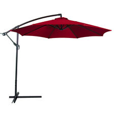 10u0027 Hanging Umbrella Patio Sun Shade Offset UV Resistant Outdoor +Base,  Burgundy