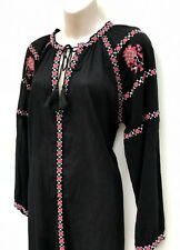 GRAB Denim Black Sheer Cotton Boho/Gypsy Embroidered L/Sleeve Dress sz 12 NWT