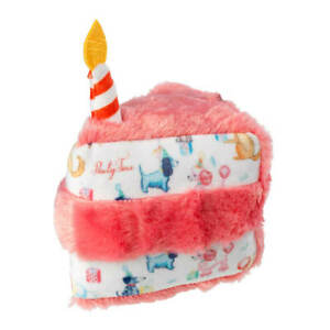 House of Paws Plush Birthday Cake Slice Dog Toy | Happy Squeaky Pink Candle Soft