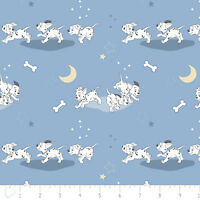 Disney 101 Dalmatians Puppies Dogs Running Blue 100% Cotton fabric by the yard