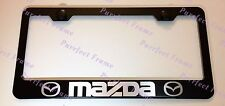 MAZDA LASER Style Black Stainless Steel License Plate Frame W/ Bolt Caps