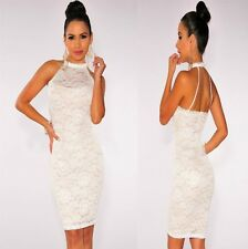Sz 8 10 Sleeveless White Lace Sexy Formal Bodycon Cocktail Party Slim Fit Dress