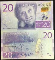 Sweden 20 Kronor ND 2015 P 69 UNC