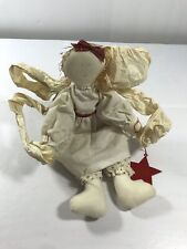 Christmas Sitting Doll Angel Fabric Vintage Holiday Decoration Primitive Decor