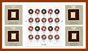 1998 Holiday Wreath 32¢ Stamp Sheet & 4 Golden Replicas FDC Scott #3249-3252