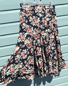 Vintage Black Floral Skirt Size 12 Flared Lined Elasticated Cotton Pleated Midi