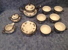Mitterteich Bavaria Germany Tea Set, White with Platinum/Silver Design