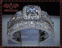 2CT Princess-Cut Diamond Halo Bridal Set Engagement Ring 14k White Gold