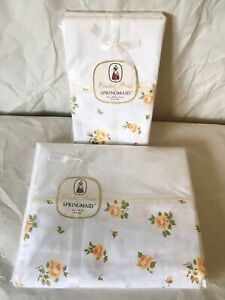 Vintage Springmaid Bed Sheet NEW IN PACKAGE Combed Percale Yellow Roses Set