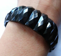 antique Victorian WHITBY JET facet cut panel bead mourning bangle bracelet -K267