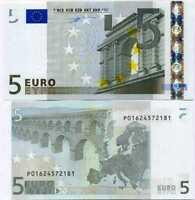 Euro 5 EURO Netherlands 2002 P 1 P Prefix RANDOM PLATE UNC