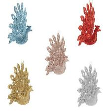 Glitter Collection Christmas Tree Decoration - 15cm Peacock - Choose Colour