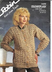 """Vintage Robin Knitting Pattern Ladies Chunky Patterned Cardigan 32-42"""" Bust"""