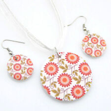 Leaves & Sunflowers Floral Wooden Pendant White Ribbon Necklace & Earrings Set