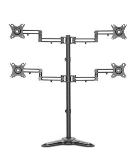 """AVLT Quad Free Standing Desk Stand to Mount Four 32"""", 17.6 lb Monitors/Screens"""