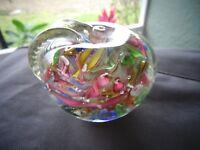 AVEM Murano Glass LATTICINO Ribbon SCRAMBLE Paperweight Tutti Fruitti APPLE GOLD