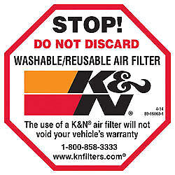 89-16063-1 K&N AIR FILTER DECAL K&N DO NOT DISCARD DECAL 65MM X 65MM