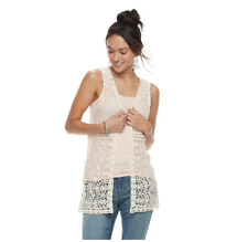 New Fashion Women Ivory Crochet Lace open front Vest Summer Cover-Up Top Blouse