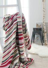 IBENA Cherry Red Striped Jacquard Woven Cotton Blend Throw Blanket Arona