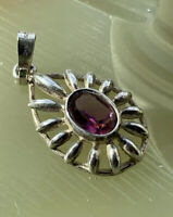 Beautiful Vintage Sterling Silver Pendant With Red Stone