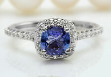 1.60CTW Natural Blue Tanzanite and DIAMOND in 14K Solid White Gold Women Ring