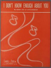 1946 PEGGY LEE Sheet Music I DON'T KNOW ENOUGH ABOUT YOU Dave Barbour