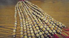 """Vintage 8mm-10mm Yellow,White & Red Glass Chevron Tube Beads - 8"""""""