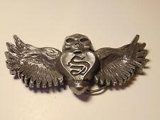 """Strhess Cloting vintage 2005 pewter skull angel wings demon belt buckle 5 1/2"""""""