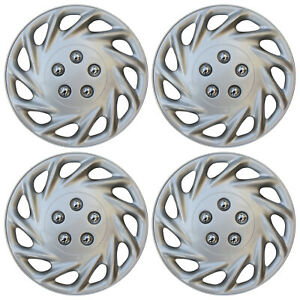 "4 PIECE Set Hub Cap ABS Silver 14"" Inch Rim Wheel Skin Cover Center Caps Covers"