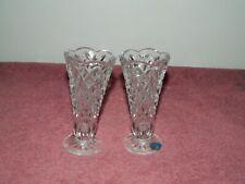 Pair of Bohemia Czech Republic Lead Crystal Vases Vase