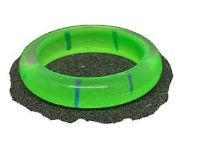 Plastic Ring, Bright Green with Thin Blue Stripe Sz 0