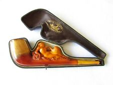 "Carved Meerschaum ""Leda and the Swan"" Risque Pipe by Monsieur Lenouvel PARIS"