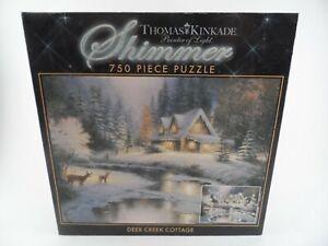 Thomas Kinkade Deer Creek Cottage SHIMMER 750 PCS Puzzle 100% Complete