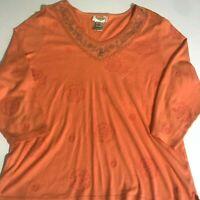Talbots orange floral top size XL