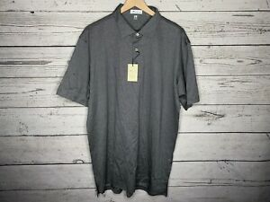 Peter Millar Mens Gray Striped Crown 100% Cotton S/S Polo Shirt Size Large NWT