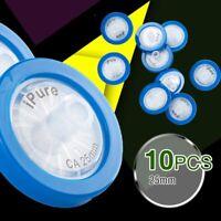 10pcs Syringe Filter CA Membrane 25mm Diameter 0.22μm Pore size w/ GF Prefilter