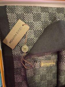 LV Dark Grey Petit Damier Hat and Scarf Set