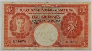 Jamaica ... P-37c ... 5 Shillings ... 1940 ... FINE DETAILS